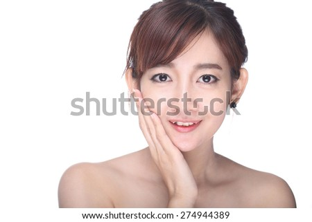 Young glamour woman portrait with white background.