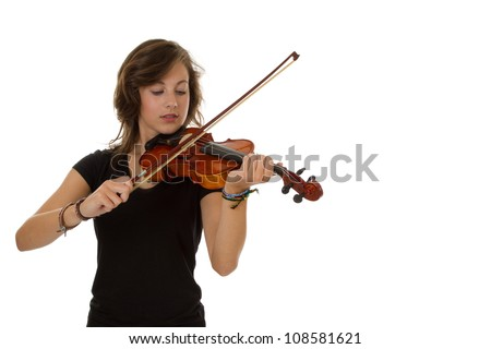 Young good looking girl standing playing the Viola - stock photo