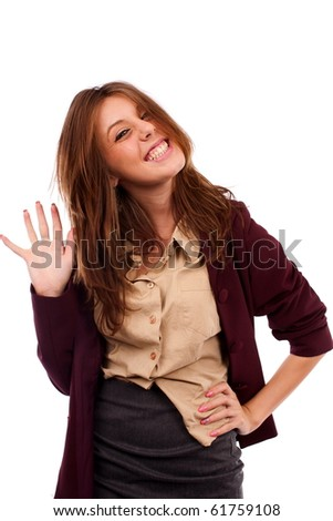 Young goofy businesswoman isolated on white background