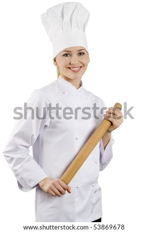 young graceful woman dressed as a cook with cap over white background - stock photo