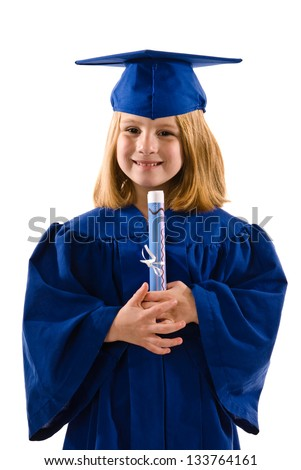 Young graduate holding diploma - stock photo