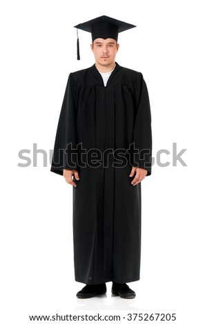 Young graduation man, isolated on white background  - stock photo