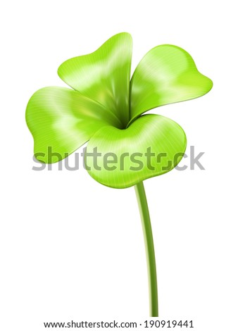 Young green four leaf sprout 3D - stock photo