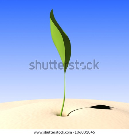 Young green sprout in sand on a background blue sky - stock photo
