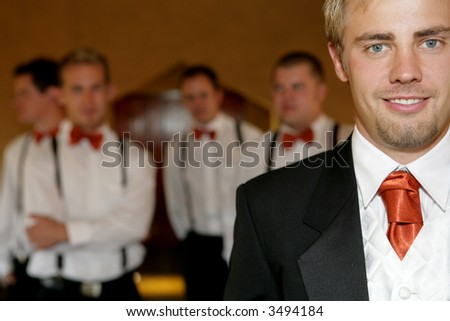 Young groom on his wedding day - stock photo