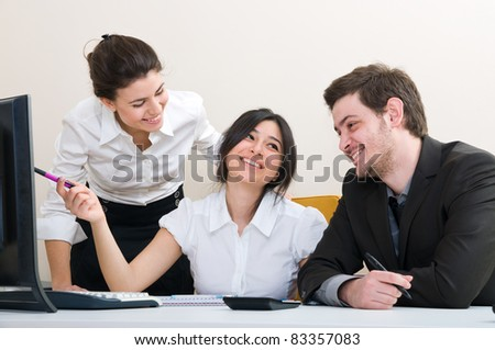 Young group of business people working at the office - stock photo