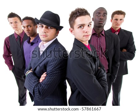 Young group of businessmen isolated over white background. Trendy multiracial group.