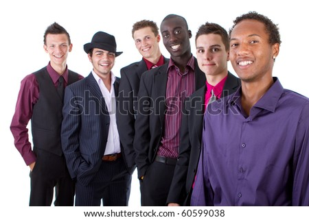 Young group of businessmen isolated over white background. Trendy multiracial group. - stock photo