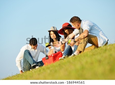 Young group of people enjoying love on summer meadow - stock photo