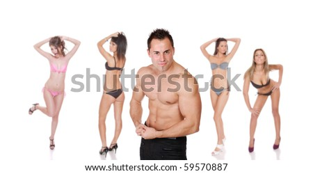 Young group of people posing  over white background - stock photo
