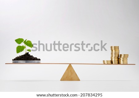 Young growing plant balancing on seesaw over a stack of coins - stock photo