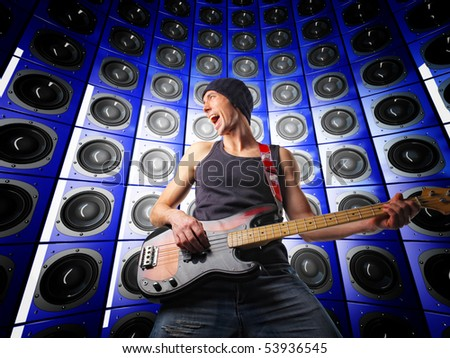 young guitar player and speakers 3d background - stock photo