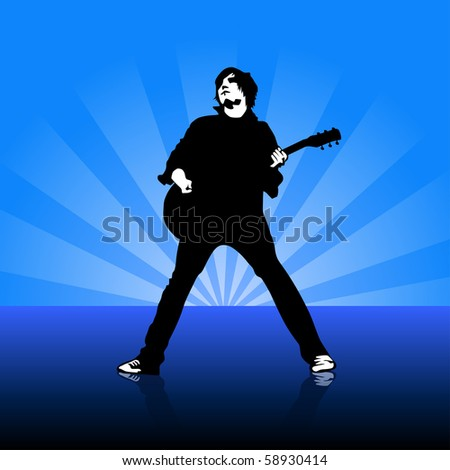 young guitarist on stage illustration - stock photo