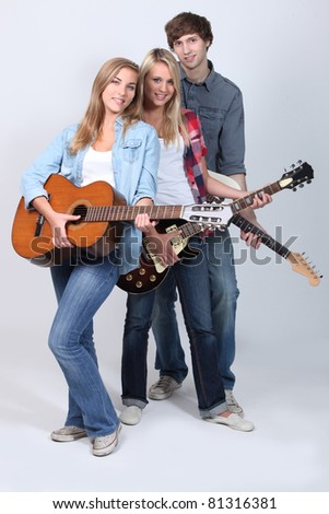 Young guitarists - stock photo