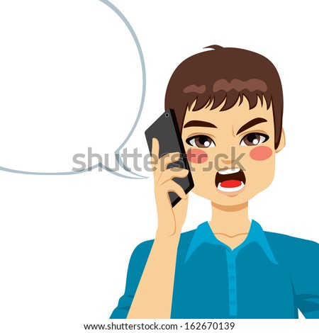 Young guy angry shouting having a phone call conversation - stock photo