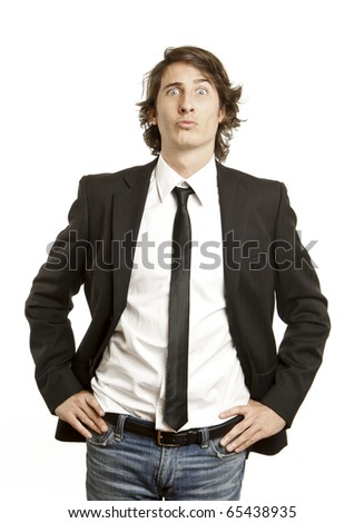 young guy funny face expression - stock photo