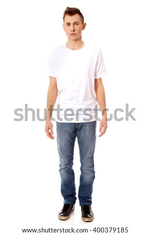 Young guy in white T-shirt - stock photo