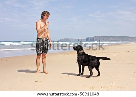 Young guy playing with his dog at the beach - stock photo