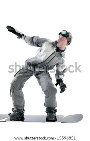 Young guy posing on a snowboard, isolated - stock photo