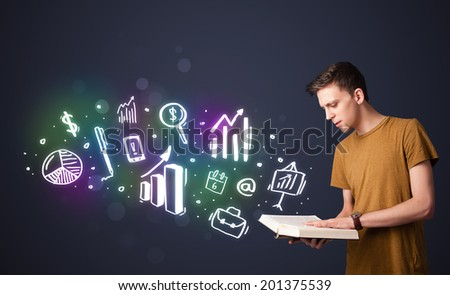 Young guy reading a book with business icons coming out of the book - stock photo