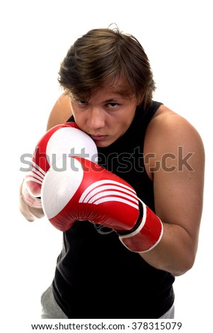 young guy with boxing gloves isolated on white