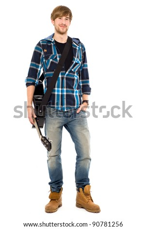 Young guy with guitar - stock photo