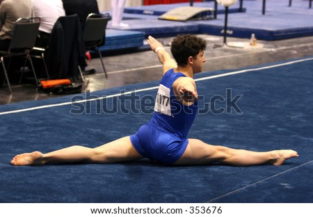 Young gymnast competing on floor
