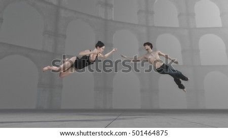 Young gymnasts levitates performing an exercise in air. This is a 3d render illustration