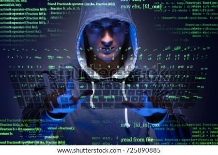 Young hacker in cyber security concept