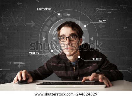 Young hacker in futuristic environment hacking personal information on tech background - stock photo