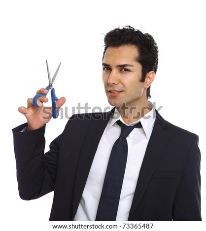 Young hair stylist with sharp blue scissors - stock photo