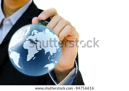 Young hand drawing earth globe. - stock photo