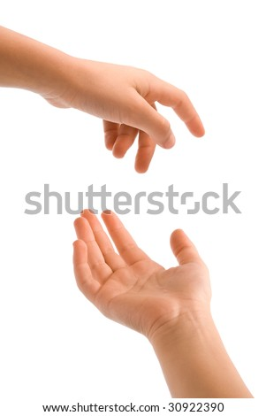young hand over white background