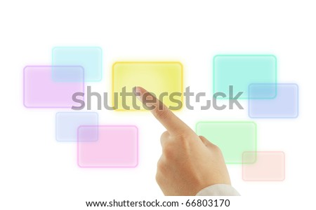 Young hand pushing button on a touch screen interface - stock photo