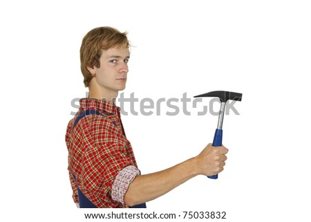 Young handcrafter with hammer isolated on white background - stock photo