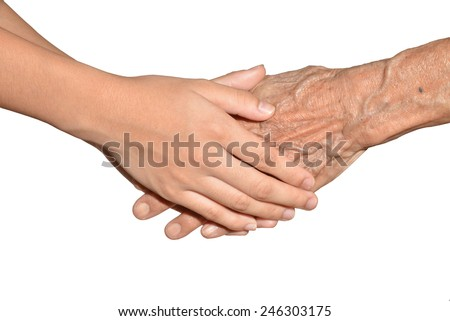 Young Hands Grasping Old Hands