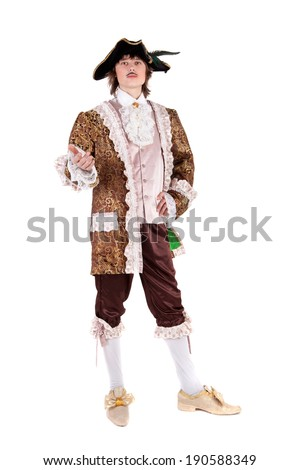 young handsome actor in the costume of the baron