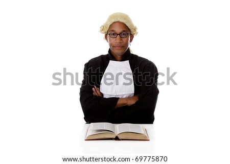 Young handsome African American judge man sitting crossed hands, bored about justice. Studio shot. White background. - stock photo