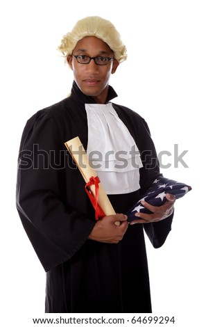 Young handsome African. American proud judge man holding the packed flag and a diploma . Studio shot. White background. - stock photo