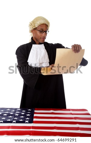 Young handsome African. American proud judge man pleased about his  diploma . Studio shot. White background.