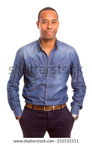 Young handsome african business man posing isolated over white - stock photo