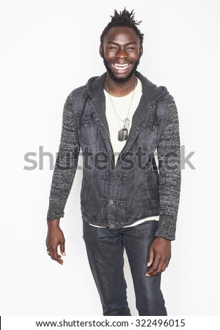 young handsome afro american man gesturing emotional posing isolated on white background - stock photo