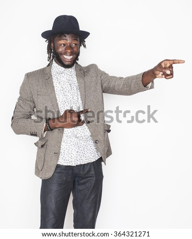 young handsome afro american man gesturing emotional posing isolated on white background stylish hipster - stock photo