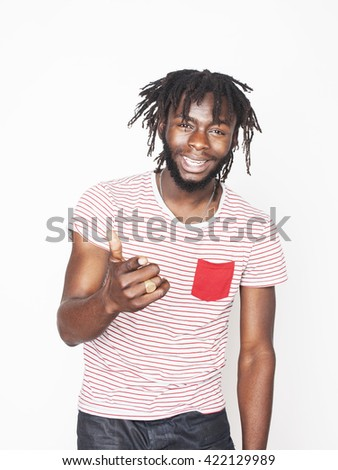 young handsome afro american man gesturing emotional posing isolated on white background stylish hipster close up. real funny character - stock photo