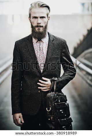 young handsome attractive bearded model man  - stock photo
