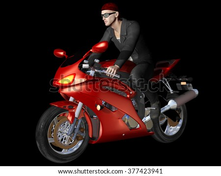 Young handsome biker riding red motorcycle on black background. 3d render.