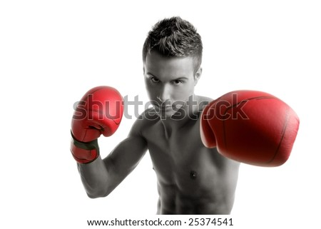 Young handsome boxer man isolated on white, studio shot - stock photo
