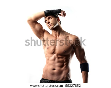 Young handsome boxeur - stock photo