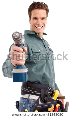 Young handsome builder in uniform. Isolated over white background - stock photo