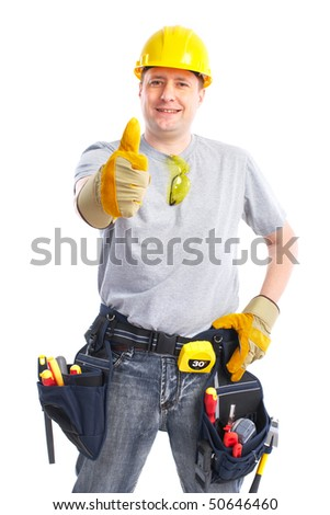 Young handsome builder in yellow uniform. Isolated over white background - stock photo